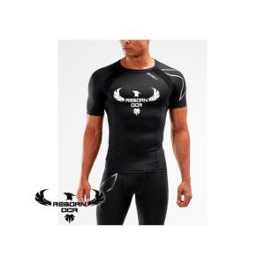 Compression Short Sleeve Top – Black/Silver – Reborn